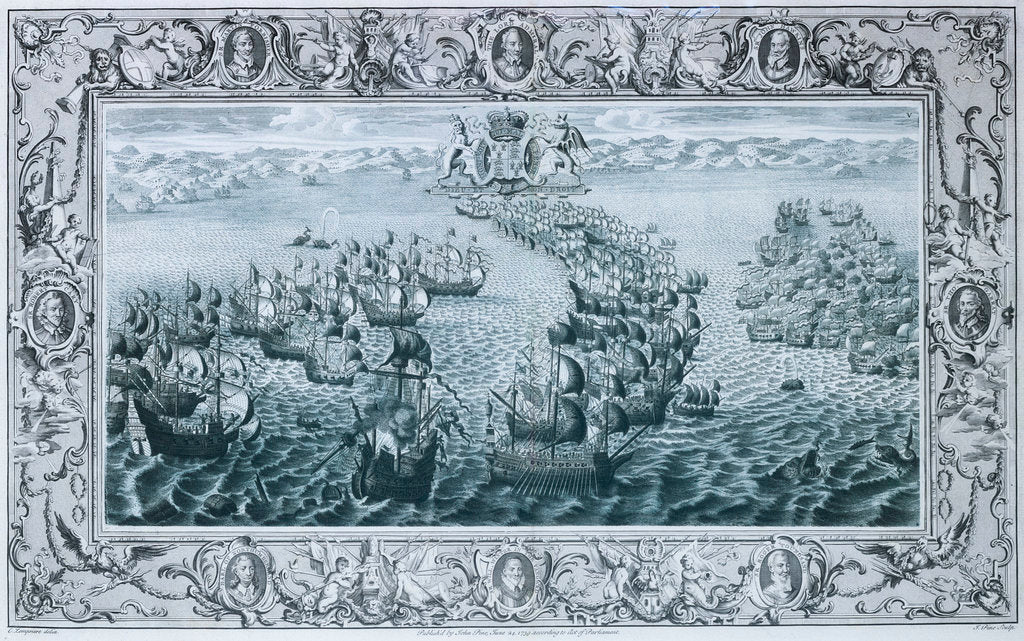 Detail of The Spanish Armada, 1588 by C. Lempriere