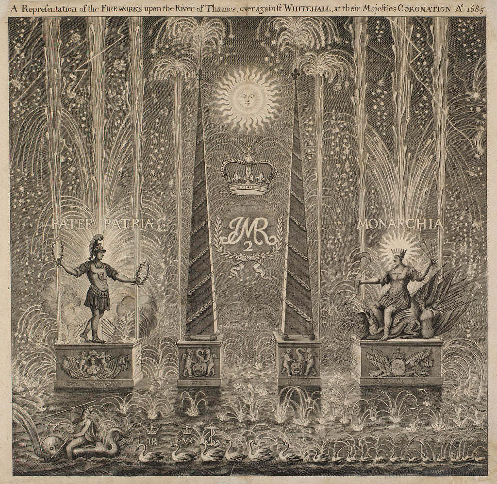 Detail of Fireworks on the occasion of the coronation 1685 by unknown