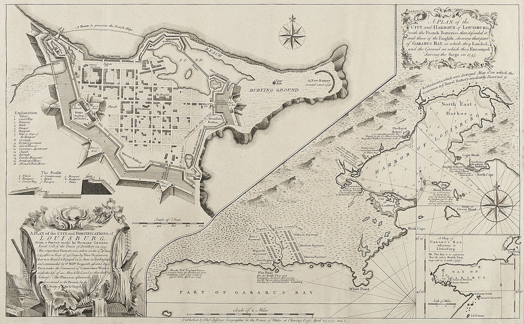 Detail of A plan of the city and harbour of Louisburg, showing Gabarus Bay, during the siege in 1745 by Richard Gridley