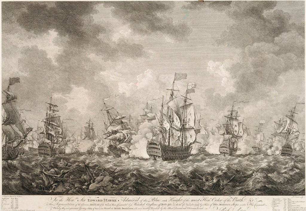Detail of The defeat of the French fleet off Belle-Isle on the 20 November 1759 by Richard Paton
