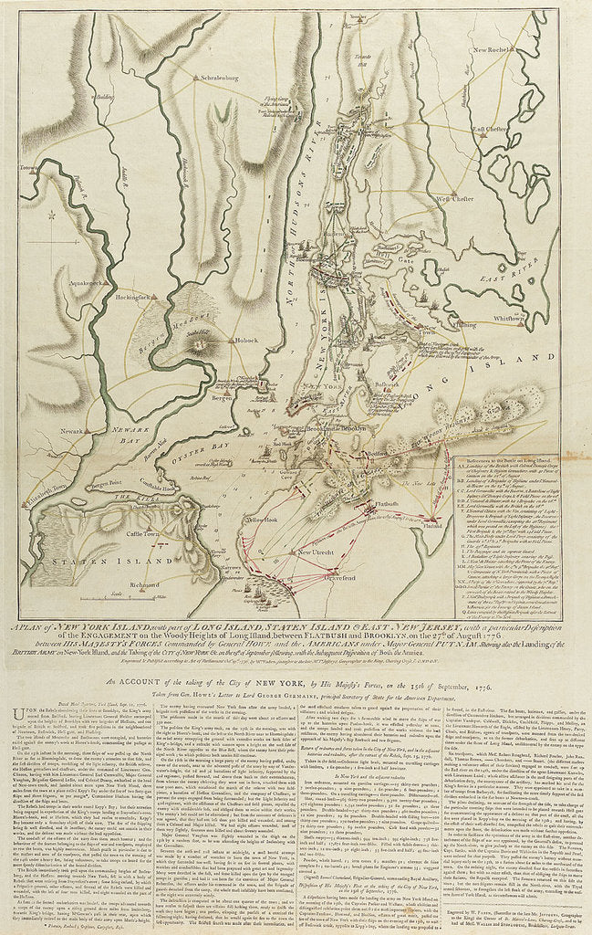 Detail of A Plan of New York Island, with part of Long Island, Staten Island & East New Jersey... Engagement on the Woody Heights of Long Island, between Flatbush and Brooklyn, on the 27th of August, 1776. by William Faden