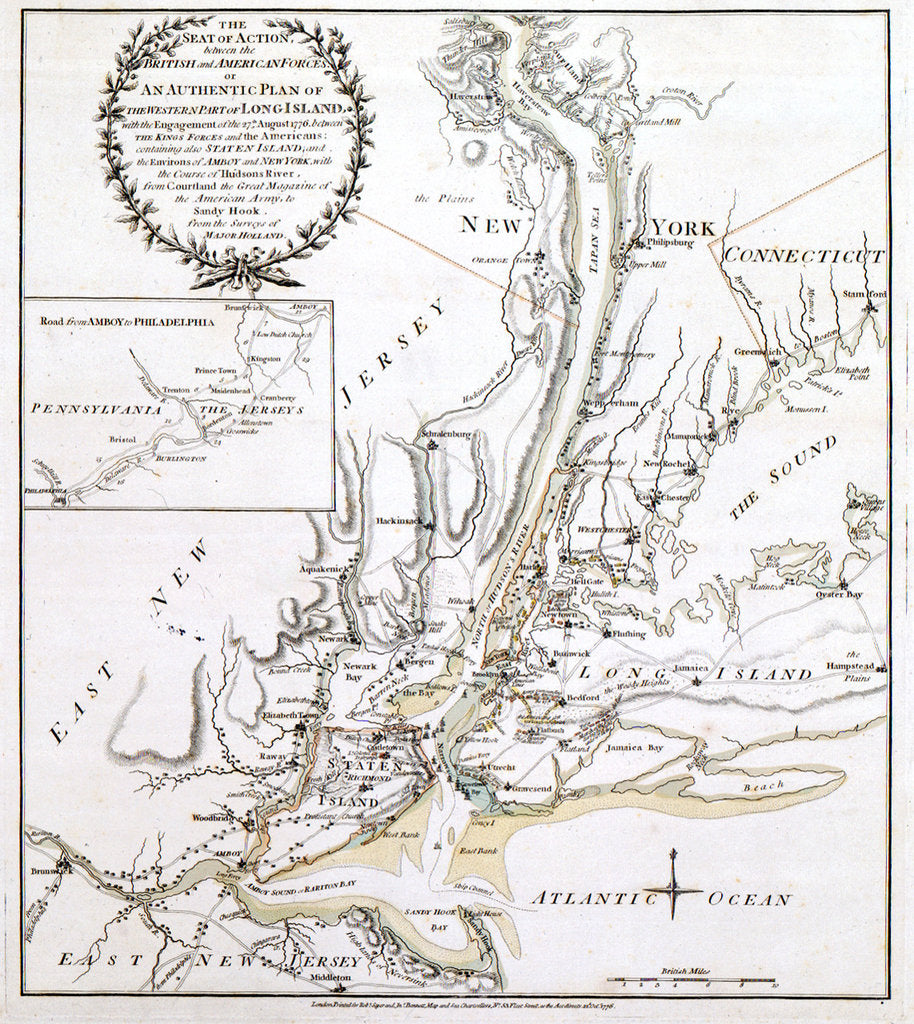 Detail of The Seat of Action between the British and American Forces or An Authentic Plan of the Western Part of Long Island with the engagement of the 27th August, 1776 by unknown
