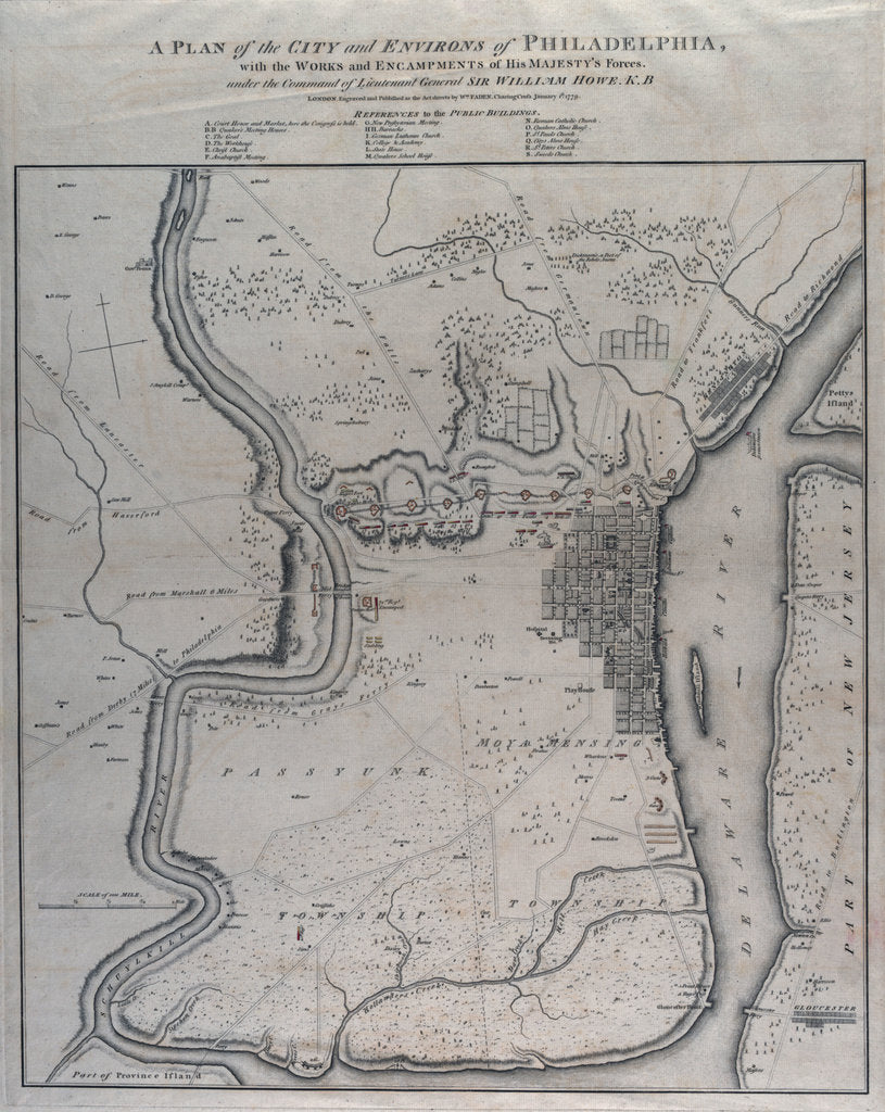 Detail of A plan of the city and environs of Philadelphia by William Faden