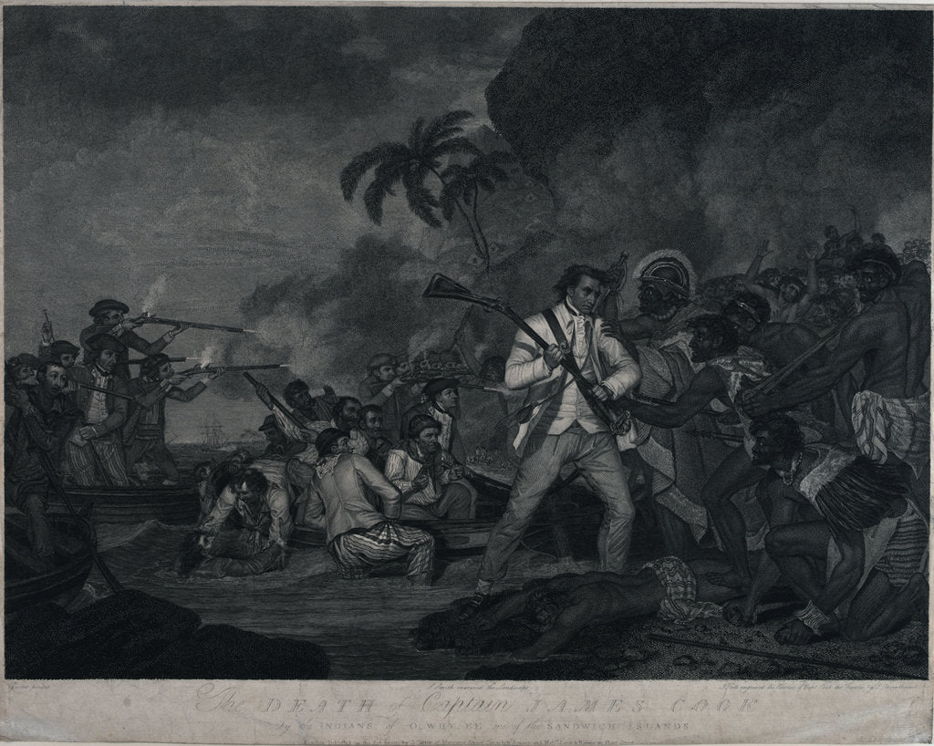 Detail of The death of Captain James Cook by the Indians of Owhyee, one of the Sandwich Islands by George Carter