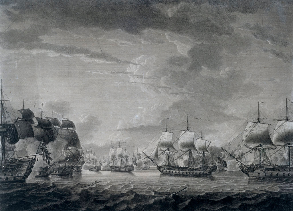 Detail of The scene between the 'Dominica' and 'Guadeloupe' in the West Indies, 12 April 1782 by Robert Dodd