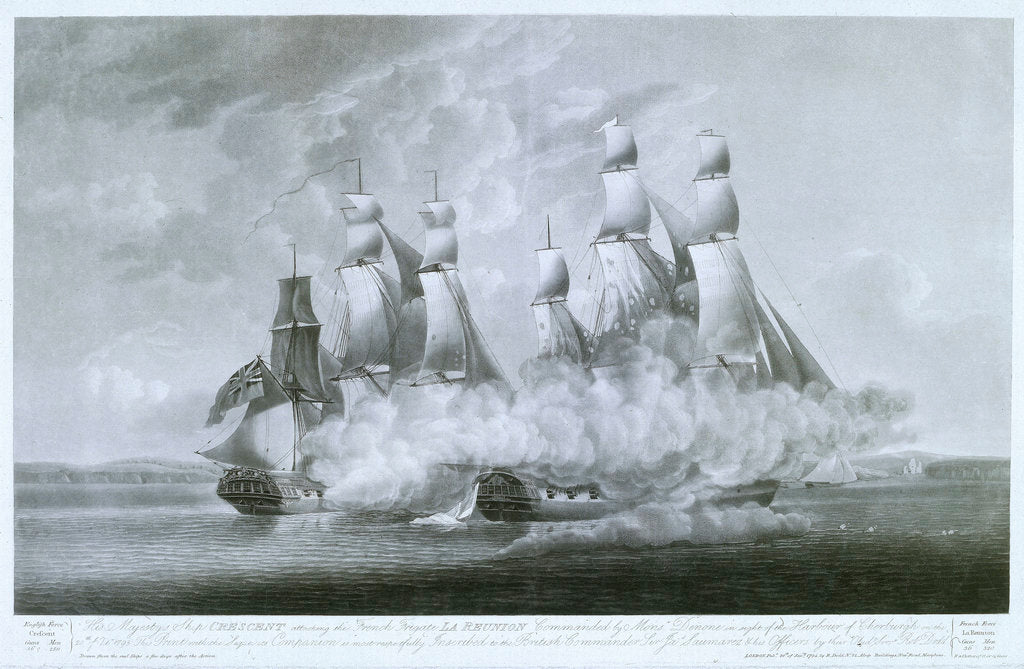Detail of HMS 'Crescent' attacking the French frigate 'La Reunion', 20 October 1793 by Robert Dodd