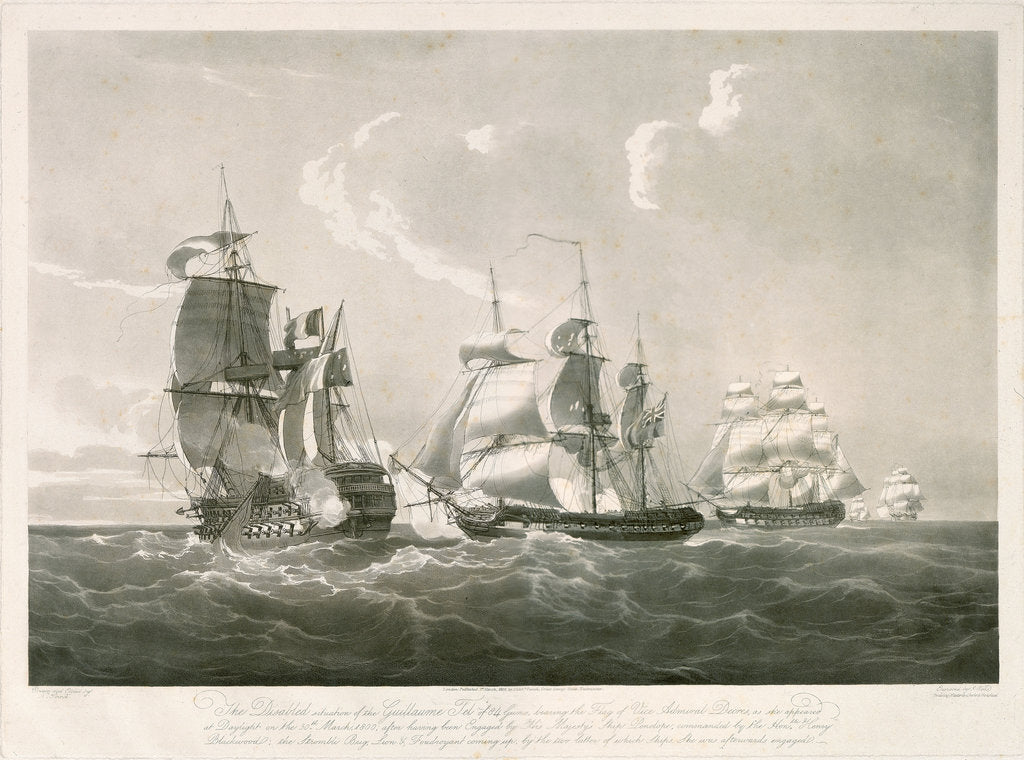 Detail of Engagement between the 'Guillaume Tel' and HMS 'Penelope', 30 March 1800 by Nicholas Pocock