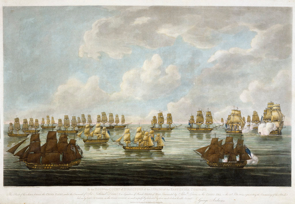 Detail of To The Honble East India Company. This Print of the Action between the China Fleet... by F Sartorius