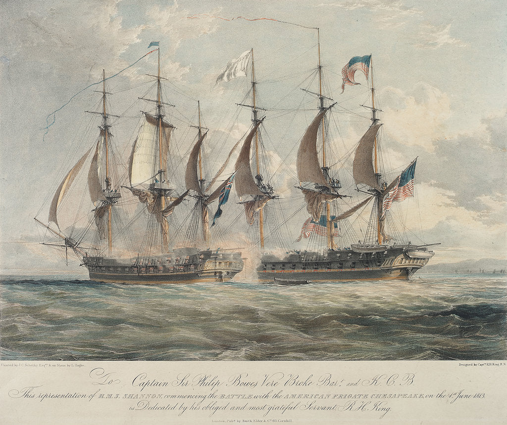 Detail of Action between HMS 'Shannon' and the American frigate 'Chesapeake' by Richard King