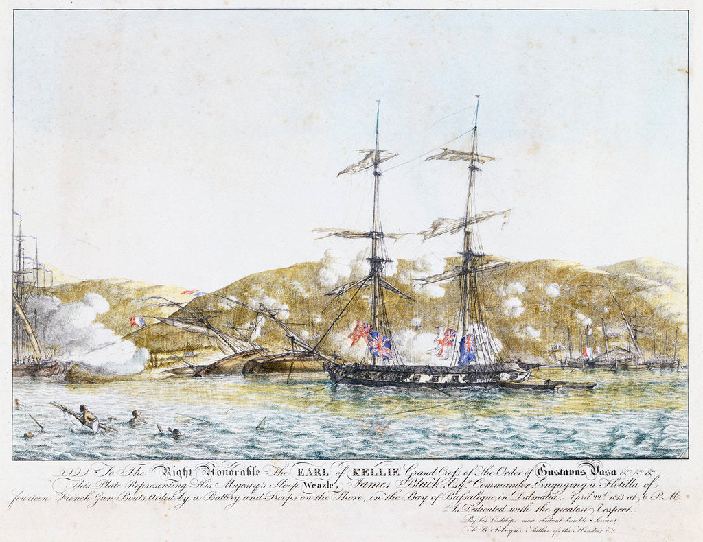 Action between HM sloop 'Weazle' and the French fleet, 22 April 1813 by Frans Baltazar Solveyns