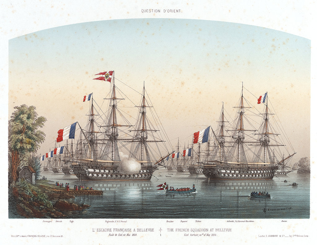Detail of The French squadron at Bellevue, Kiel Harbour, 20 May 1854 by Louis Le Breton