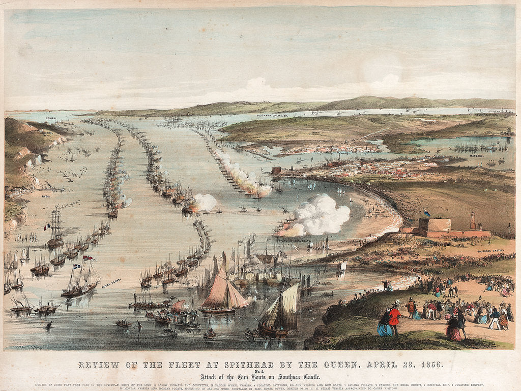 Detail of Review of the fleet at Spithead by the Queen, 23 April 1856. by Thomas Packer