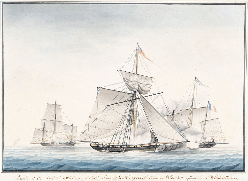 Detail of The English cutter 'Swan' taken by French privateers 'La Reciprocite' and 'Le Voltigeur', March 1807 by Houllets