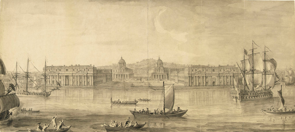 Detail of A prospect of Greenwich Hospital from the river by Jacques Rigaud