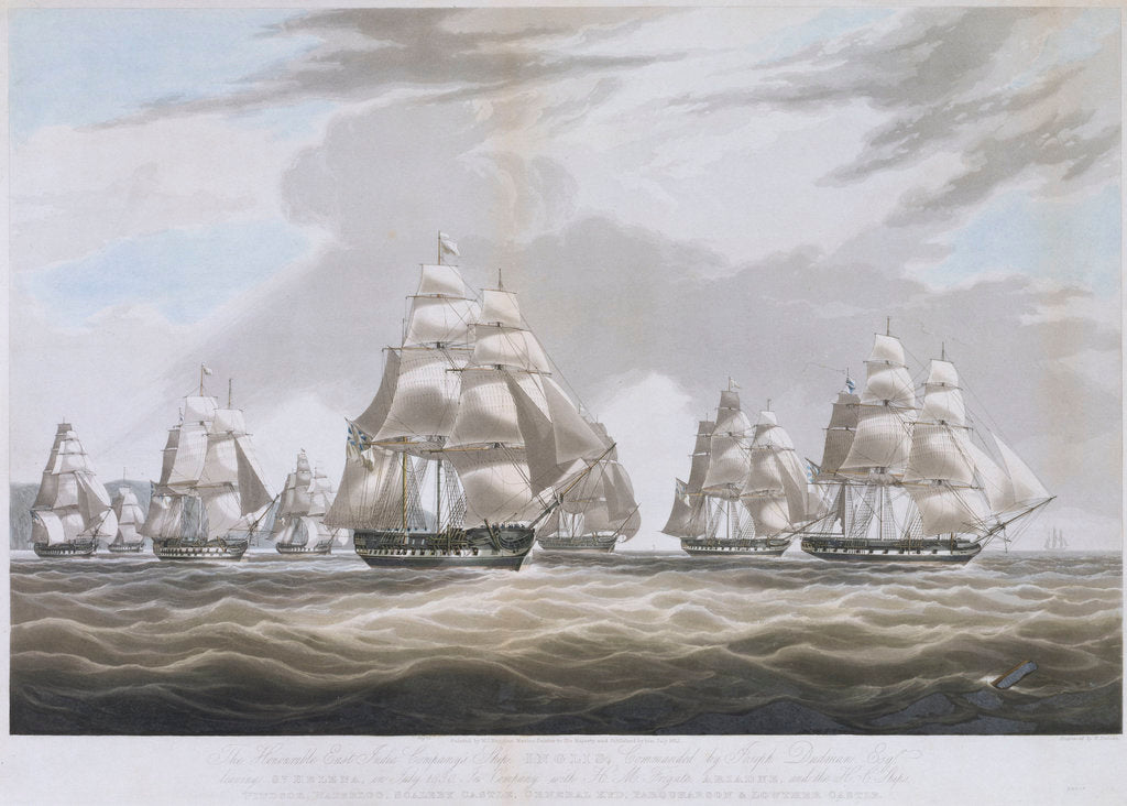 Detail of The East India Company's ship 'Inglis' leaving St Helena, in July 1830 by William John Huggins