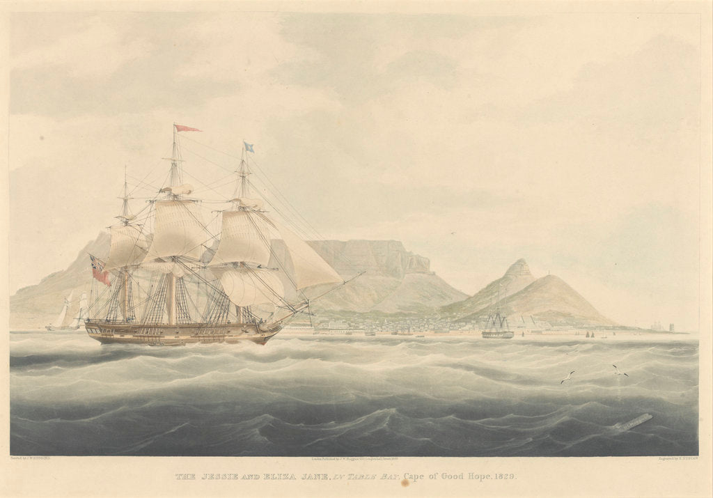 Detail of The Jessie and Eliza Jane in Table Bay, Cape of Good Hope, 1829 by Edward Duncan