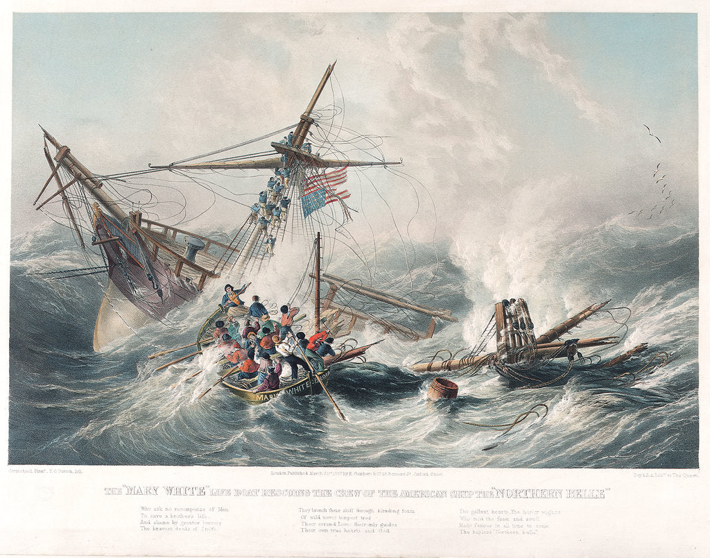Detail of The life boat 'Mary White' rescuing the crew of the American ship 'Northern Belle' by John Wilson Carmichael