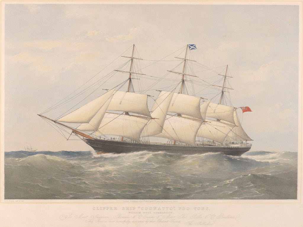 Detail of Lithograph of clipper ship 'Coonatto' (1863) by Thomas Goldsworth Dutton