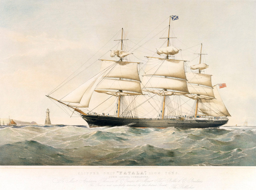 Detail of Lithograph of Clipper Ship 'Yatala' by Thomas Goldsworth Dutton