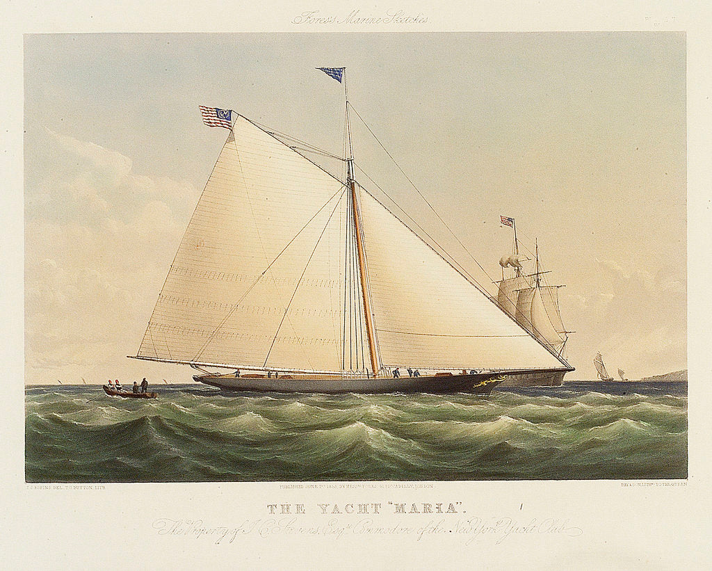 Detail of The yacht 'Maria' by Thomas Sewell Robins