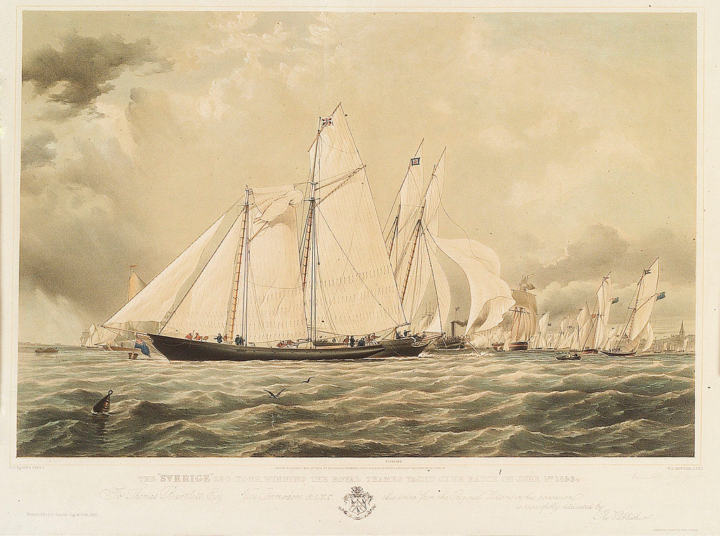 Detail of The 'Sverige' winning the Royal Thames Yacht Club match on 1 June 1853 by Thomas Sewell Robins