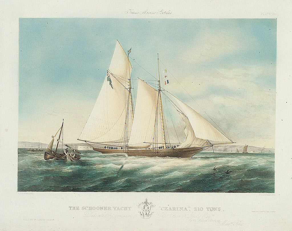 Detail of The schooner yacht 'Czarina' by Thomas Sewell Robins