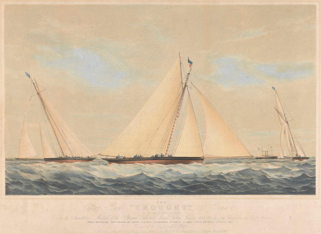 Detail of The Cutter Yacht 'Thought' (1854) in 1860 by Josiah Taylor