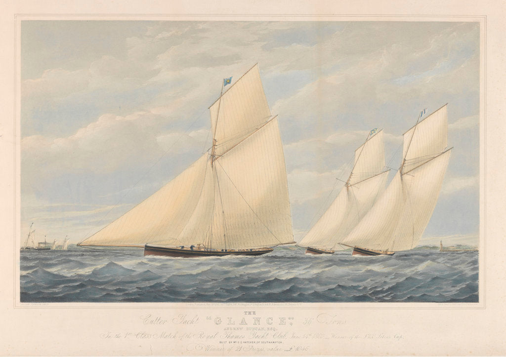 Detail of The Cutter Yacht Glance, 36 Tons by Josiah Taylor
