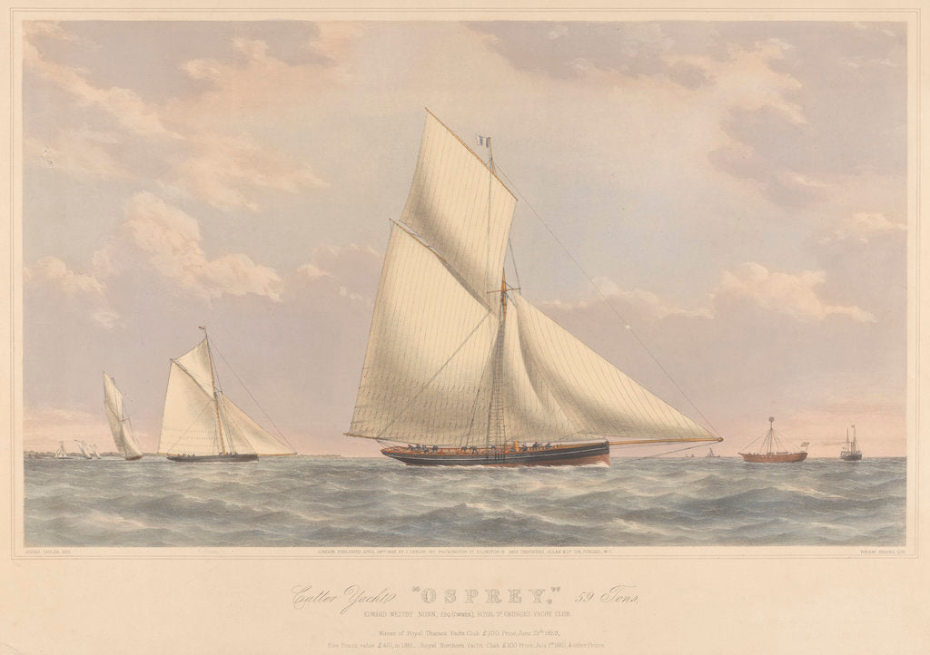 Detail of Cutter yacht 'Osprey' (1859) 59 tons by Josiah Taylor