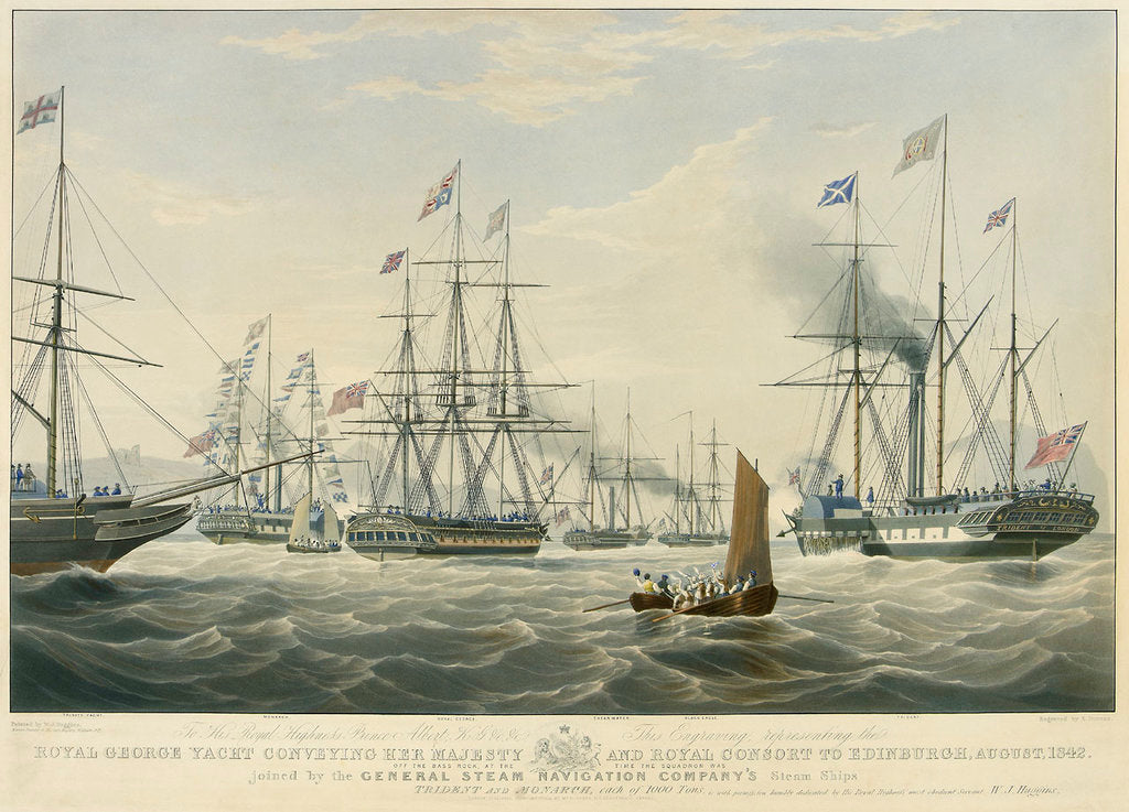 Detail of To... Prince Albert... This Engraving representing the Royal George Yacht conveying her Majesty and Royal Consort to Edinburgh, August, 1842 Off the Bass Rock... joined by General Steam Navigation... by William John Huggins