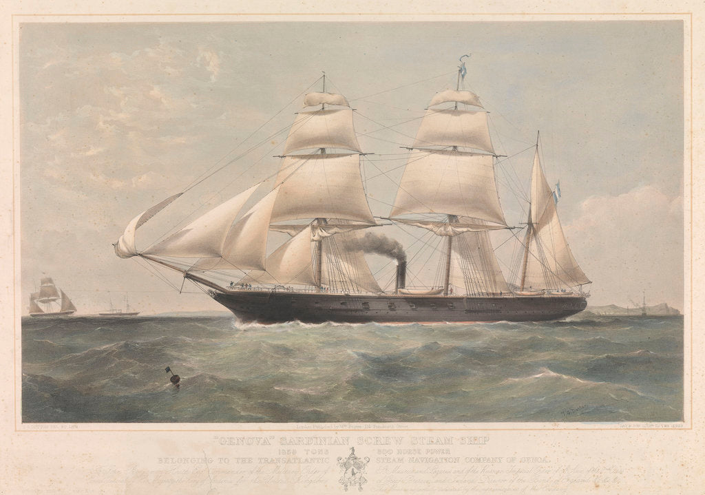 Detail of Sardinian screw steamship 'Genova' (It, 1859) belonging to the Transatlantic Steam Navigation Company of Genoa by Thomas Goldsworth Dutton