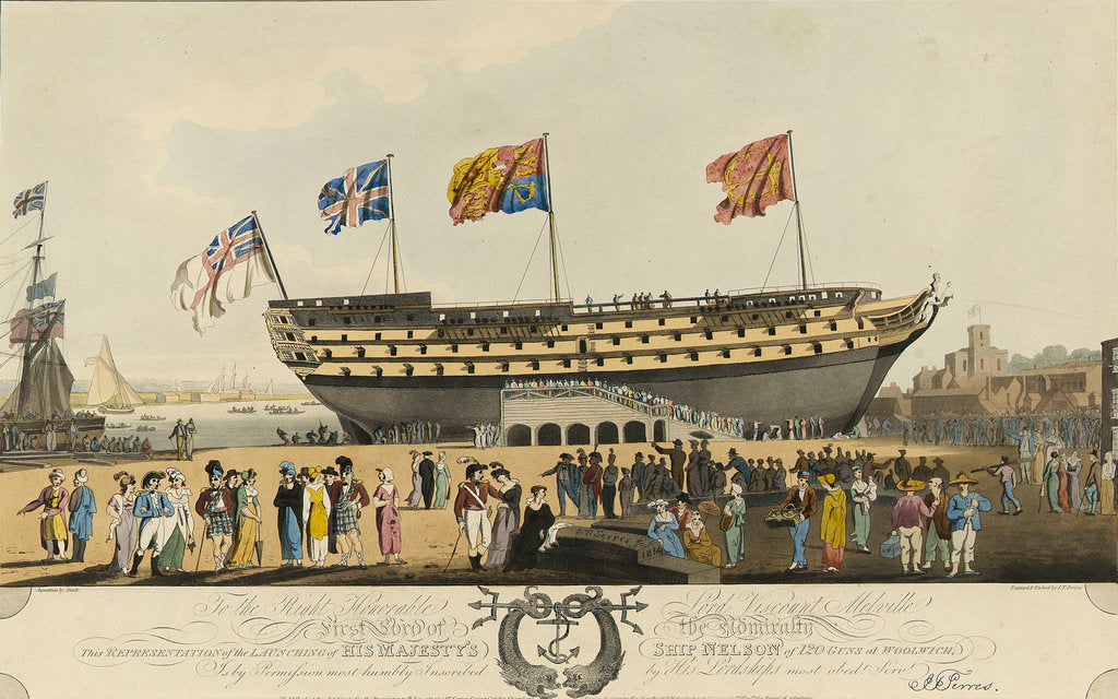 Detail of The launch of the 'Nelson' (Br, 1814) by John Thomas Serres