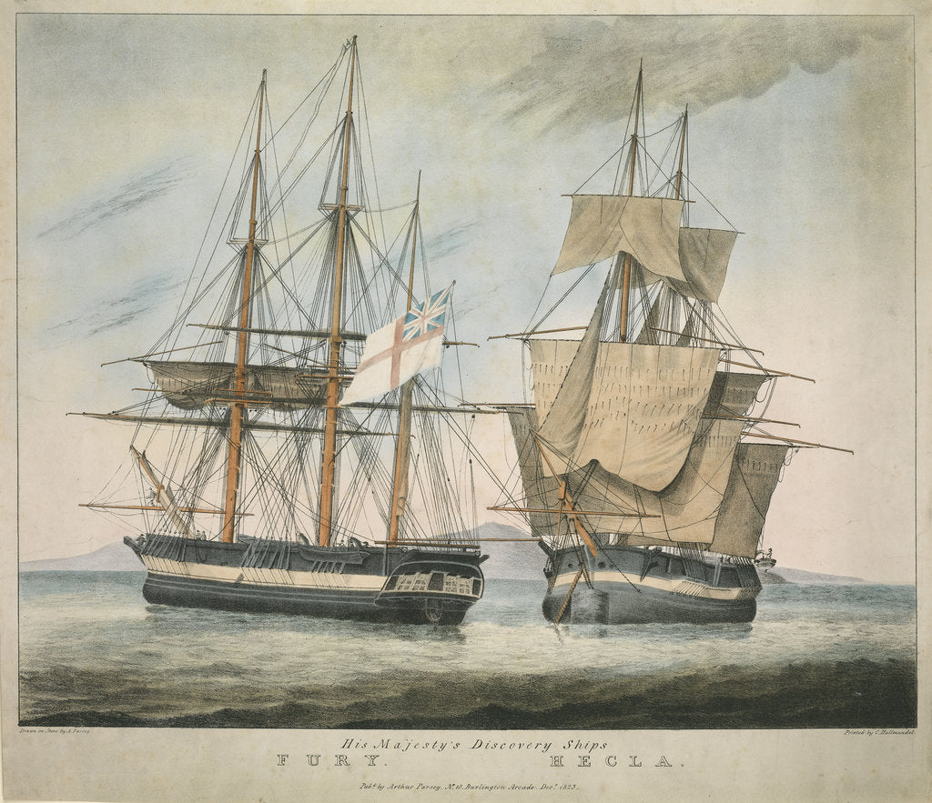 Detail of His Majesty's Discovery Ships Fury and Hecla by Arthur Parsey