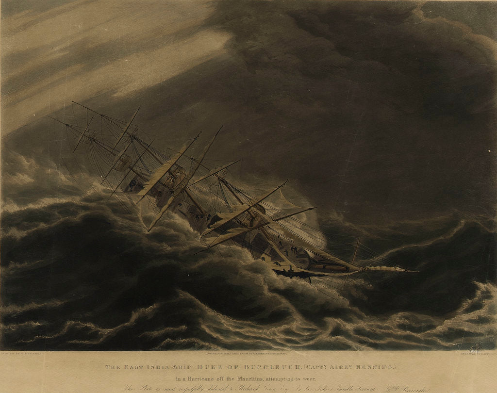 The East India Ship 'Duke of Buccleugh' in a hurricane off the Mauritius by George Philip Reineagle