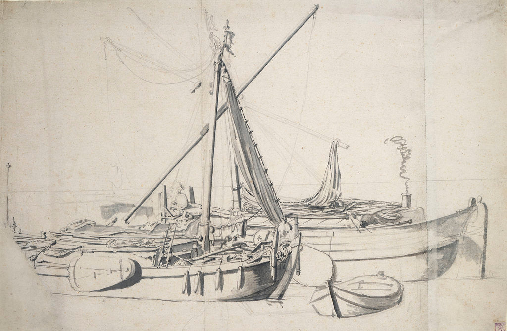 Detail of Study of a damlooper and a smalschip lying alongside one another by Willem van de Velde the Elder