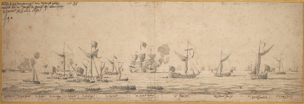 Detail of The yachts off Margate, 8 December 1677 by Willem van de Velde the Elder