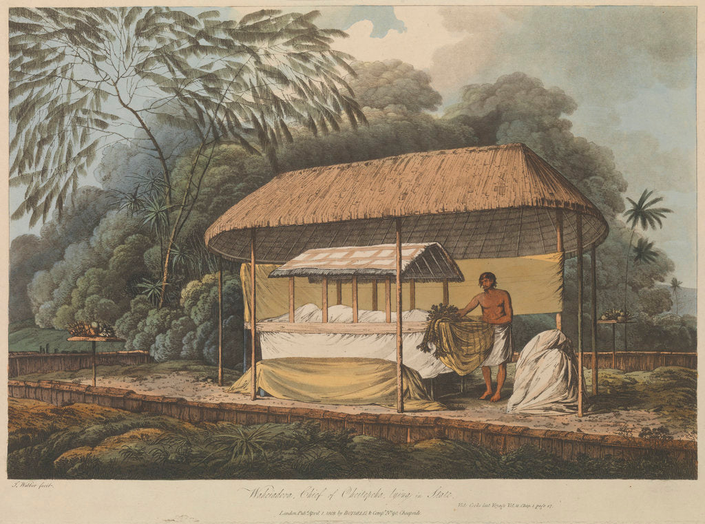 Detail of Views in the South Seas... Waheiadooa, Chief of Oheitepeha, lying in state by John Webber