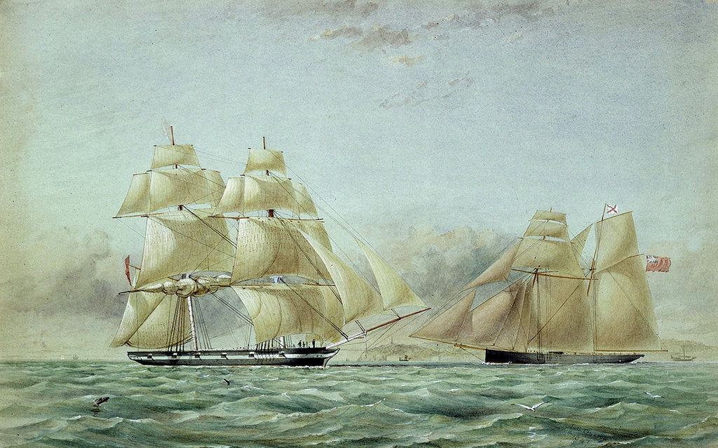 Detail of Sailing vessels 'Lyra' and 'Petrel' - opium ships by Thomas Goldsworth Dutton
