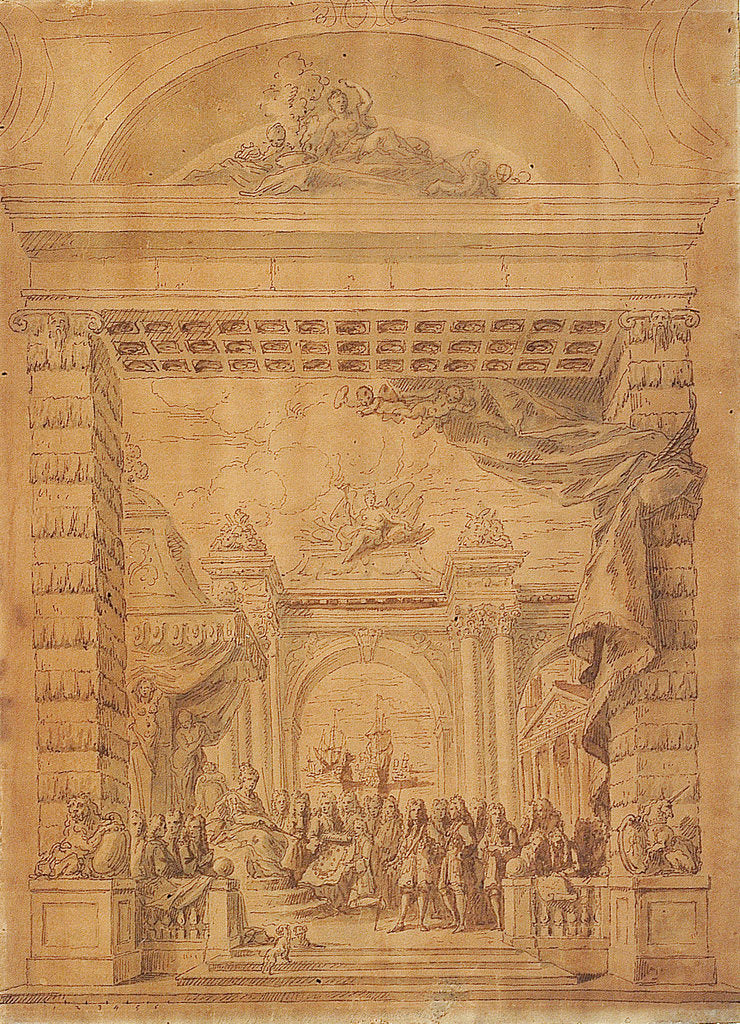 Detail of First design for the upper end of the Painted Hall, Greenwich Hospital by James Thornhill