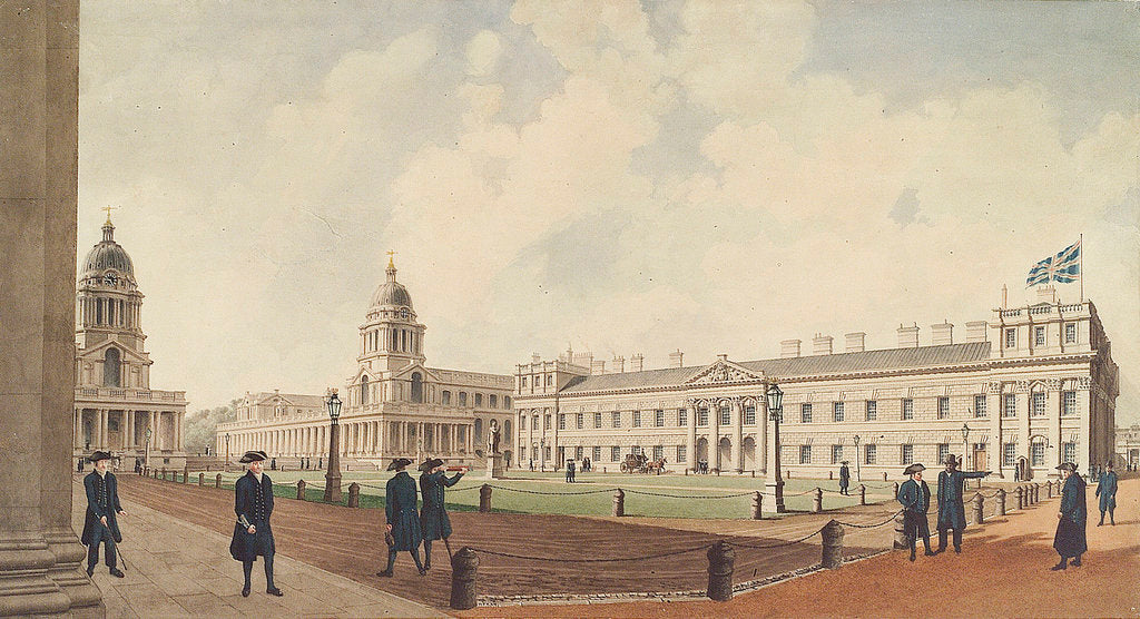 Detail of Greenwich Hospital viewed from the north and showing pensioners, 1830 by W. Porden Kay
