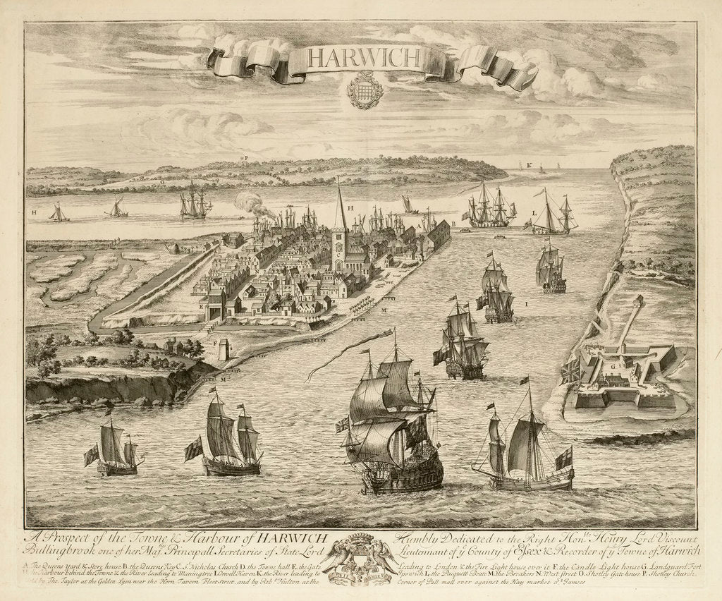Detail of A prospect of the town & harbour of Harwich by Jan Kip