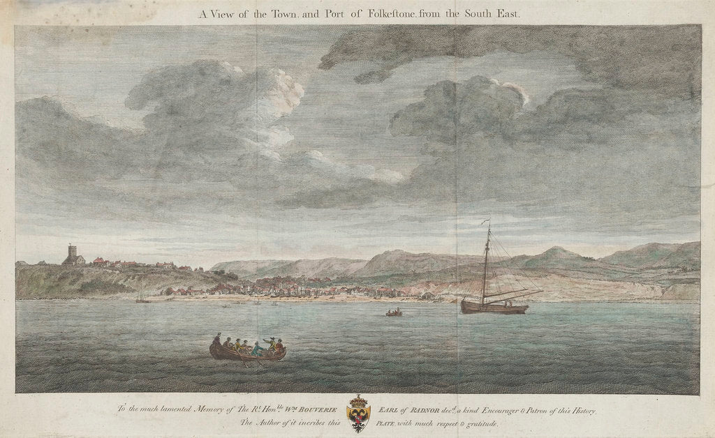 Detail of A view of the town and port of Folkestone from the south-east by unknown