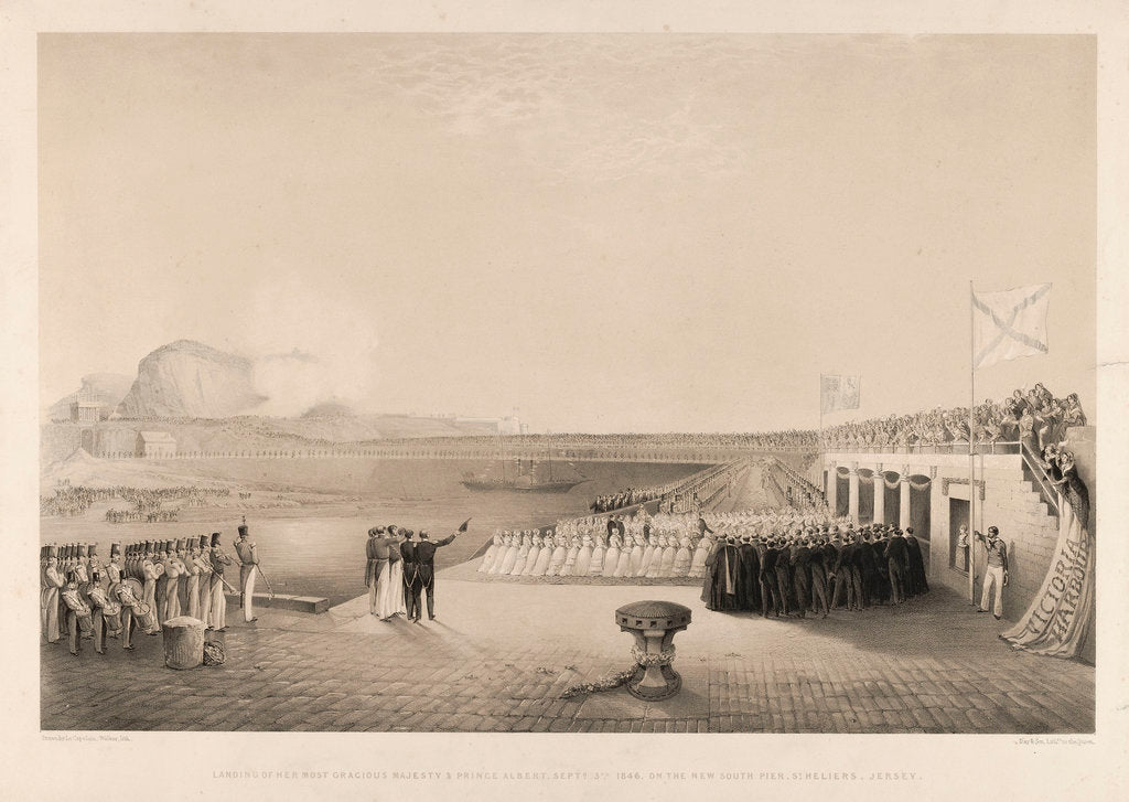 Detail of Landing of Queen Victoria & Prince Albert, 3 September 1846, on the New South Pier, St Heliers, Jersey by J. Le Capelain