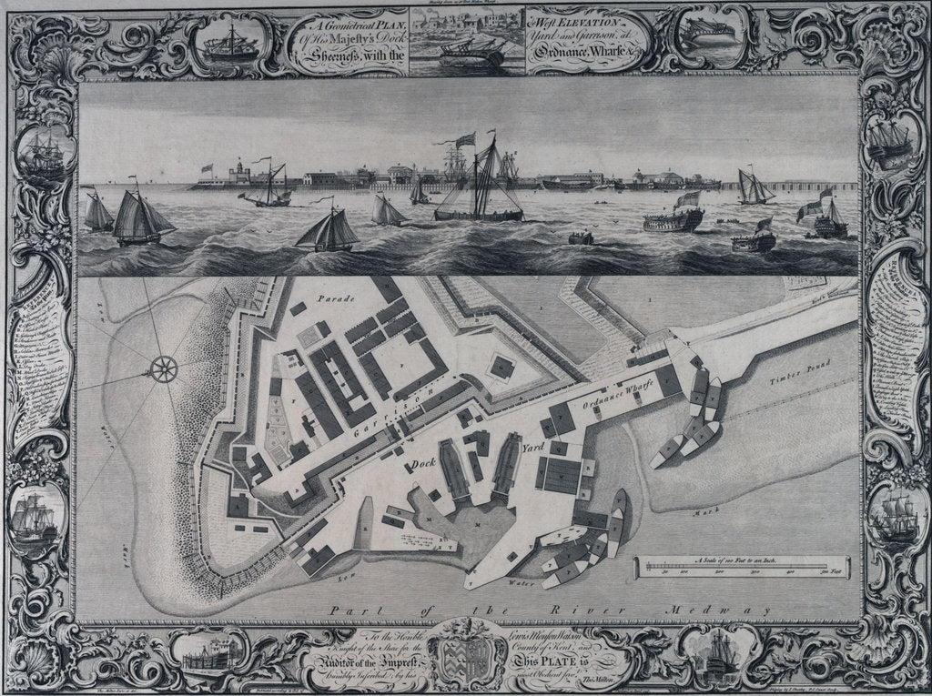 Detail of A geometrical plan & west elevation HM dockyard and garrison at Sheerness with the Ordnance Wharf by Thomas Milton