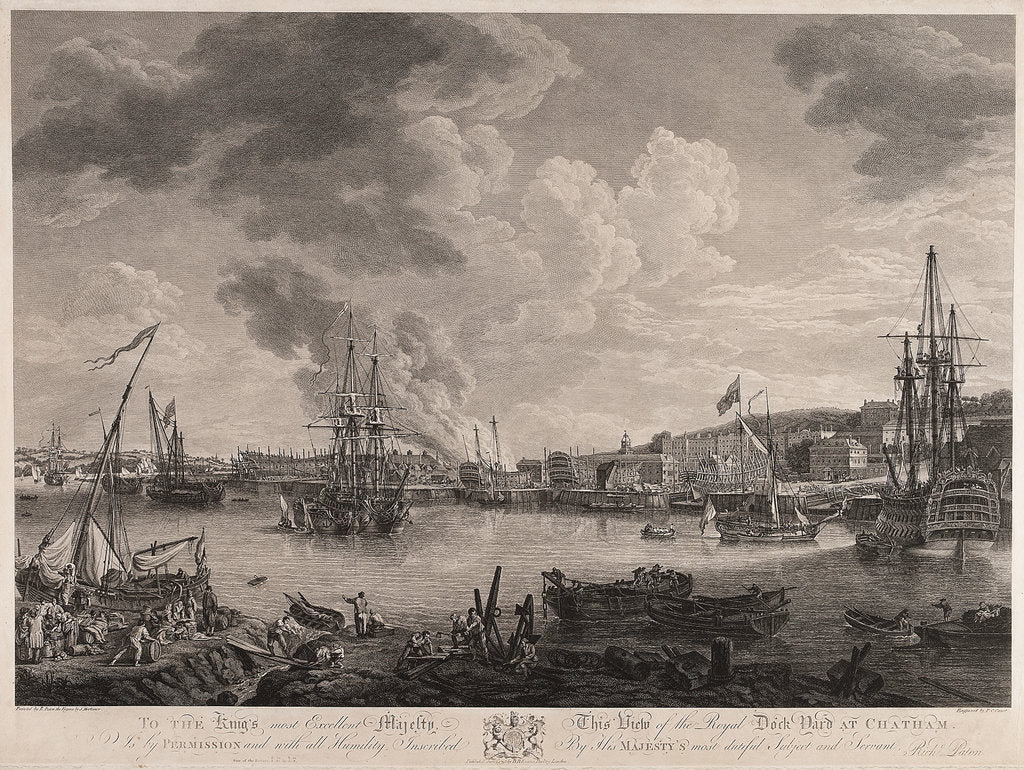 Detail of View of the dockyard at Chatham by Richard Paton