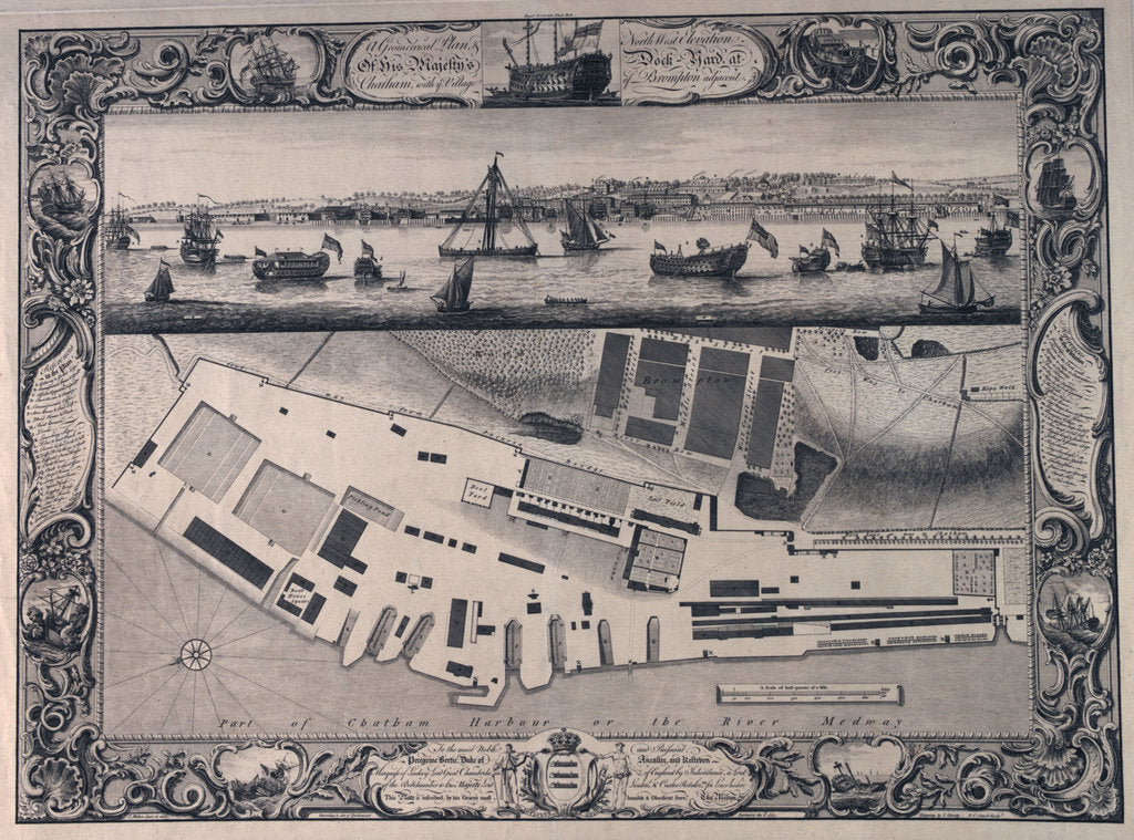 Detail of Plan of Chatham dockyard by Thomas Milton