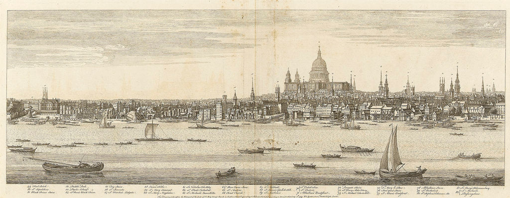 Detail of View of the city of London by Samuel Buck