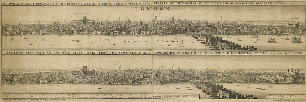 Detail of View of London before the Great Fire of 1666 by Wenceslaus Hollar