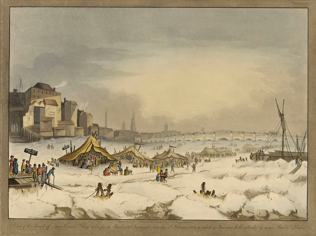 Detail of View of the Thames during the last great frost fair during the winter of 1813-1814 by Burkitt & Hudson