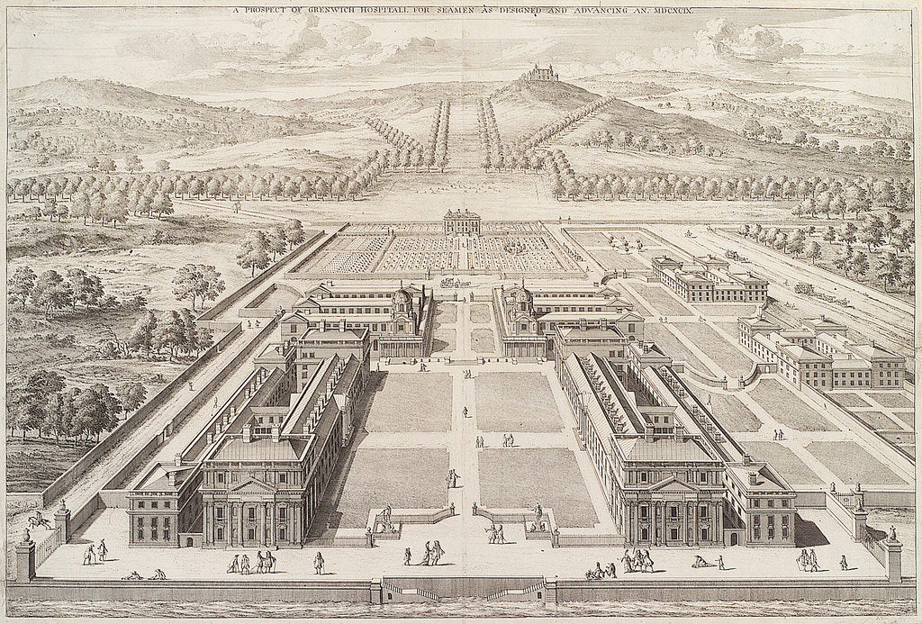 Detail of A prospect of Greenwich Hospital for Seamen as designed and Advancing An. MDCXCIX. by Johannes Kip